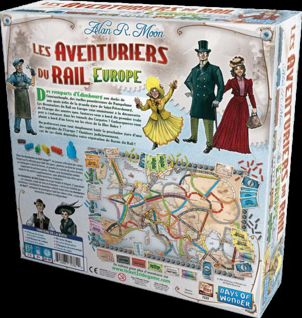 [le dos de la boite des aventuriers du rail : Europe]